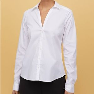 NWT H&M women's white fitted button down vneck